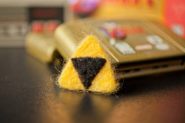 Needle Felted Triforce Pin by themaniacalmenagerie