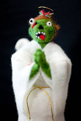 Custom Praying Zombie Angel Tree Topper by themaniacalmenagerie