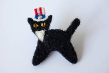 Uncle Sam Needle Felted Black Cat Pin by themaniacalmenagerie