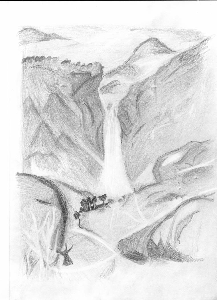Waterfall in pencil by beorndlatch on DeviantArt