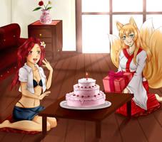 Birthday at shrine by Felune-Bun