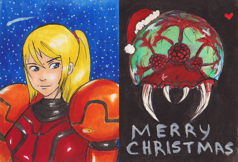 Samus And Metriod Christmas artcard by About12Kittens