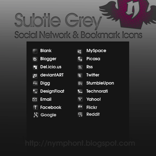 Subtle Gray: 15 Social Icons by nymphont