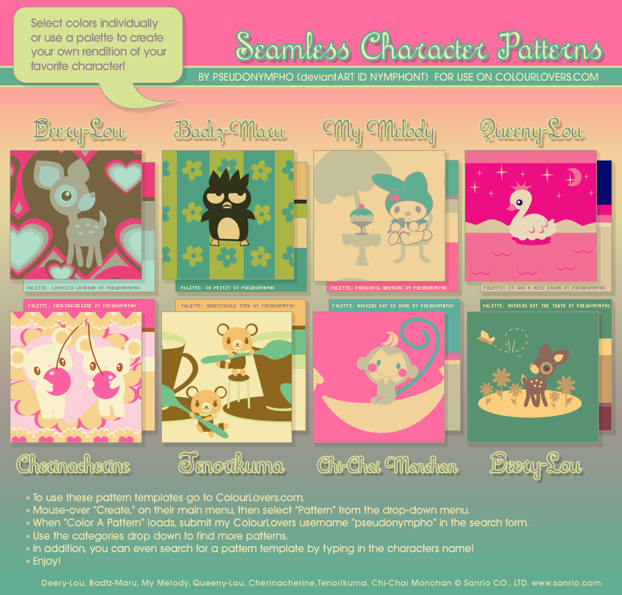 Sanrio Pattern Templates by nymphont