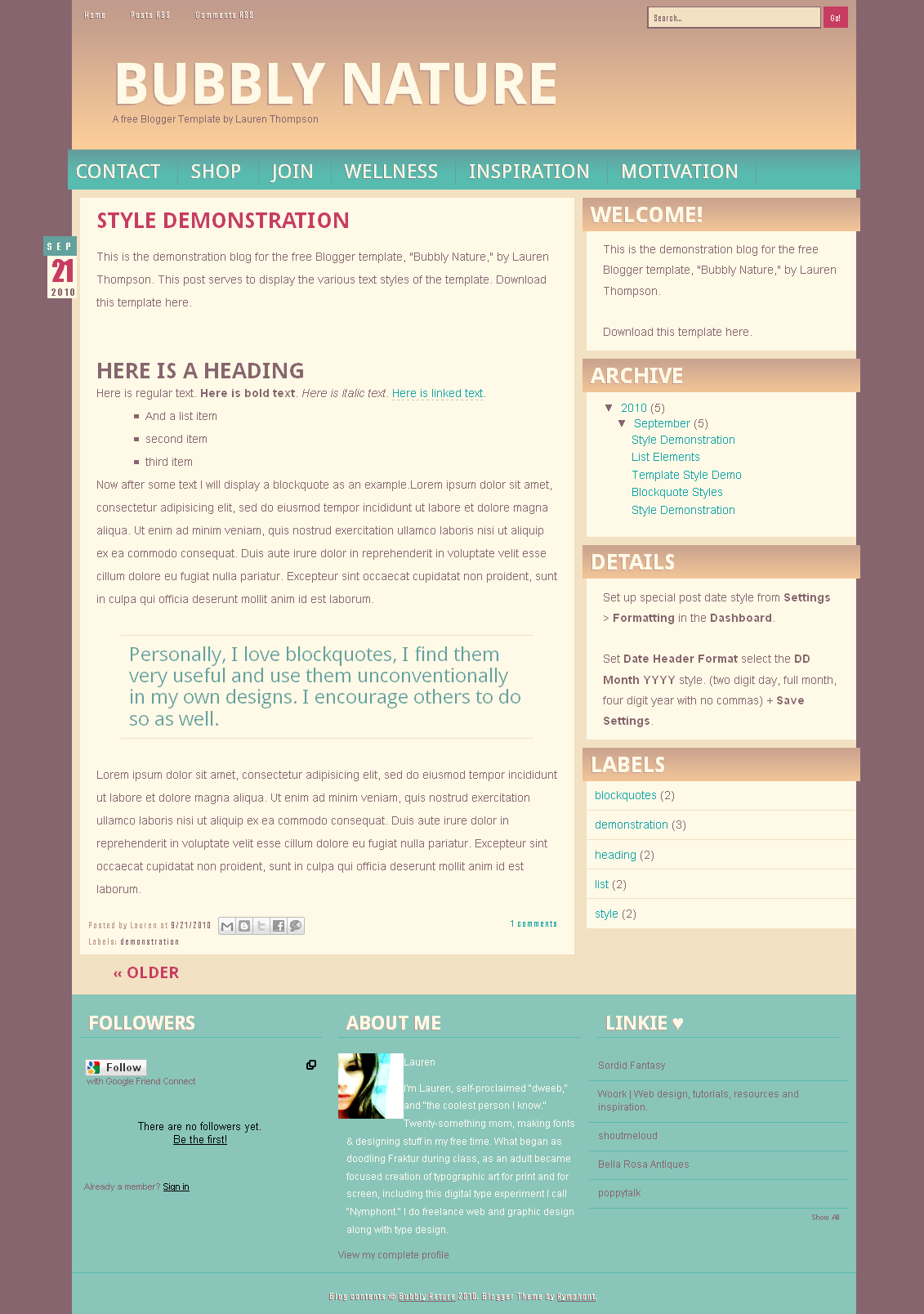 Bubbly Nature Blogger Template by nymphont