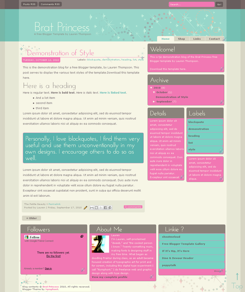 Brat Princess Blogger Template by nymphont