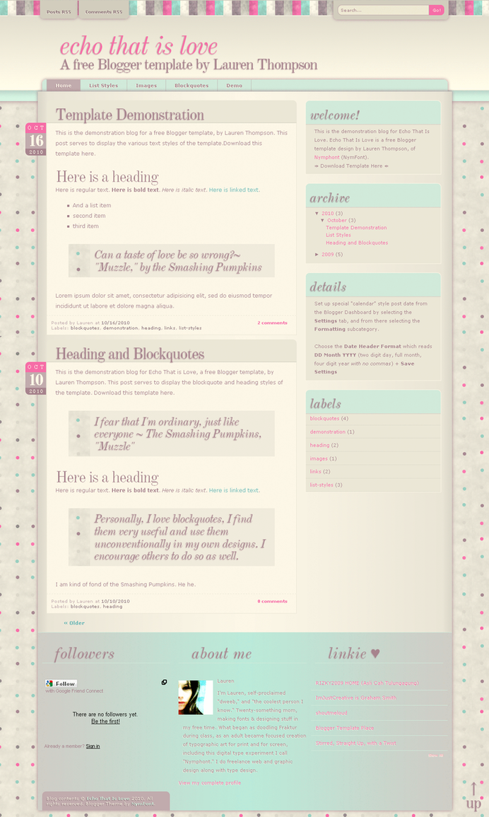 echo that is love blogger xml by nymphont d30xz6m Web Design Inspiration: Inspiring and Creative Web Interface Designs
