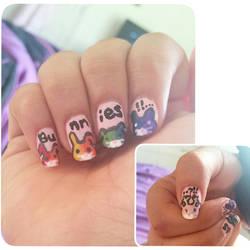Rainbow Bunnies! Nailart