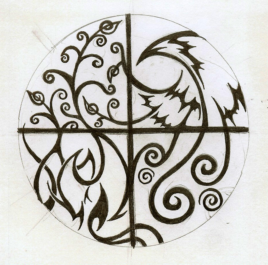 Elemental tattoo again by cloudberg on deviantart - Tatouage 4 elements ...