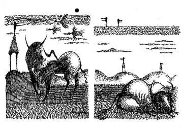 Bulls and birds by D-KRIP