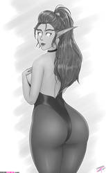 Night Elf Bodysuit - B/W ver. by JONRS-tkos