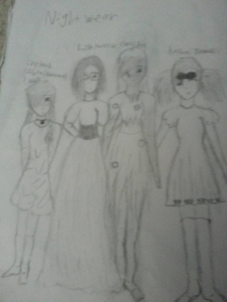 All my characters in their night wear. by sedonaandlilly
