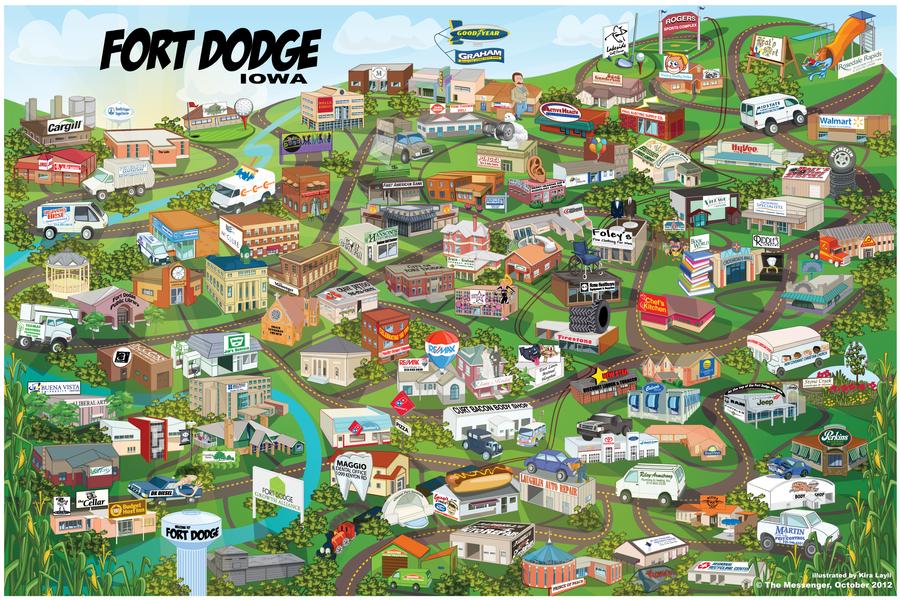 Cartoon Map of Fort Dodge Iowa by Kiracatures on DeviantArt