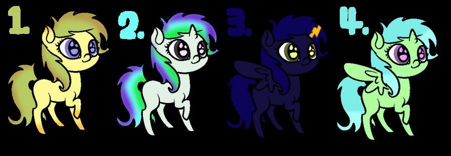 [CLOSED] Pony Adoptables #1 by strawbellycake