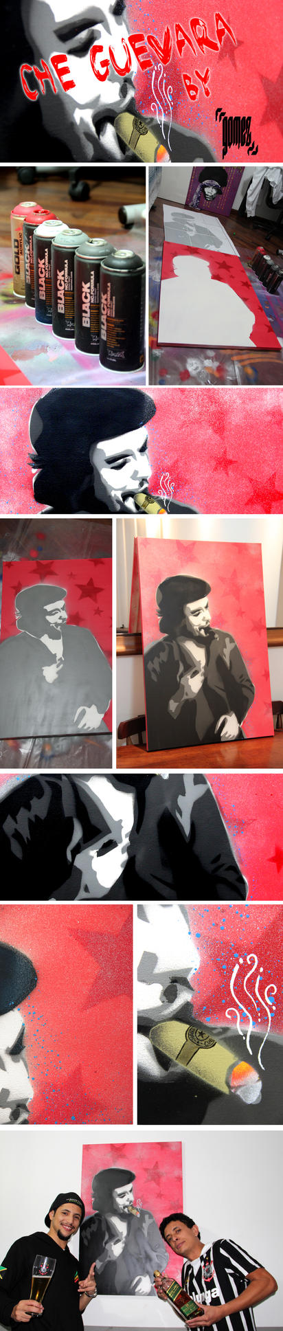 Che Guevara - Stencil on Canvas Process by byCavalera