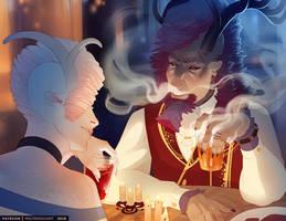 Dinner Conversation by MoltenGoldArt