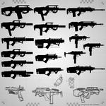 Weapon Silhouette Sketches 4.2.2020 (I'm not dead) by DeRezzurektion