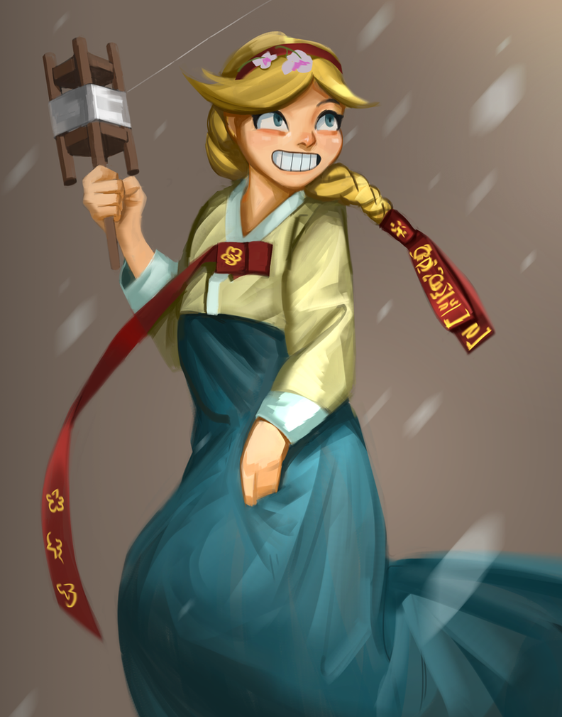Star butterfly with Hanbok by Louie-Oh