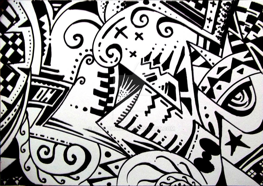 Crowded black white ink art by adelphoia3
