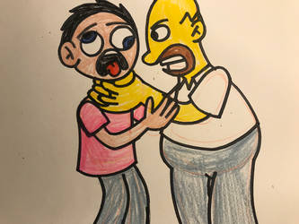 Homer Simpson strangling Jerry