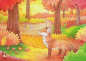 Autumn fox by yeyeyy