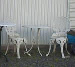 Old Outdoor White Chair and Table Stock