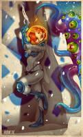 Space Girl vs Purple Beast by thenota