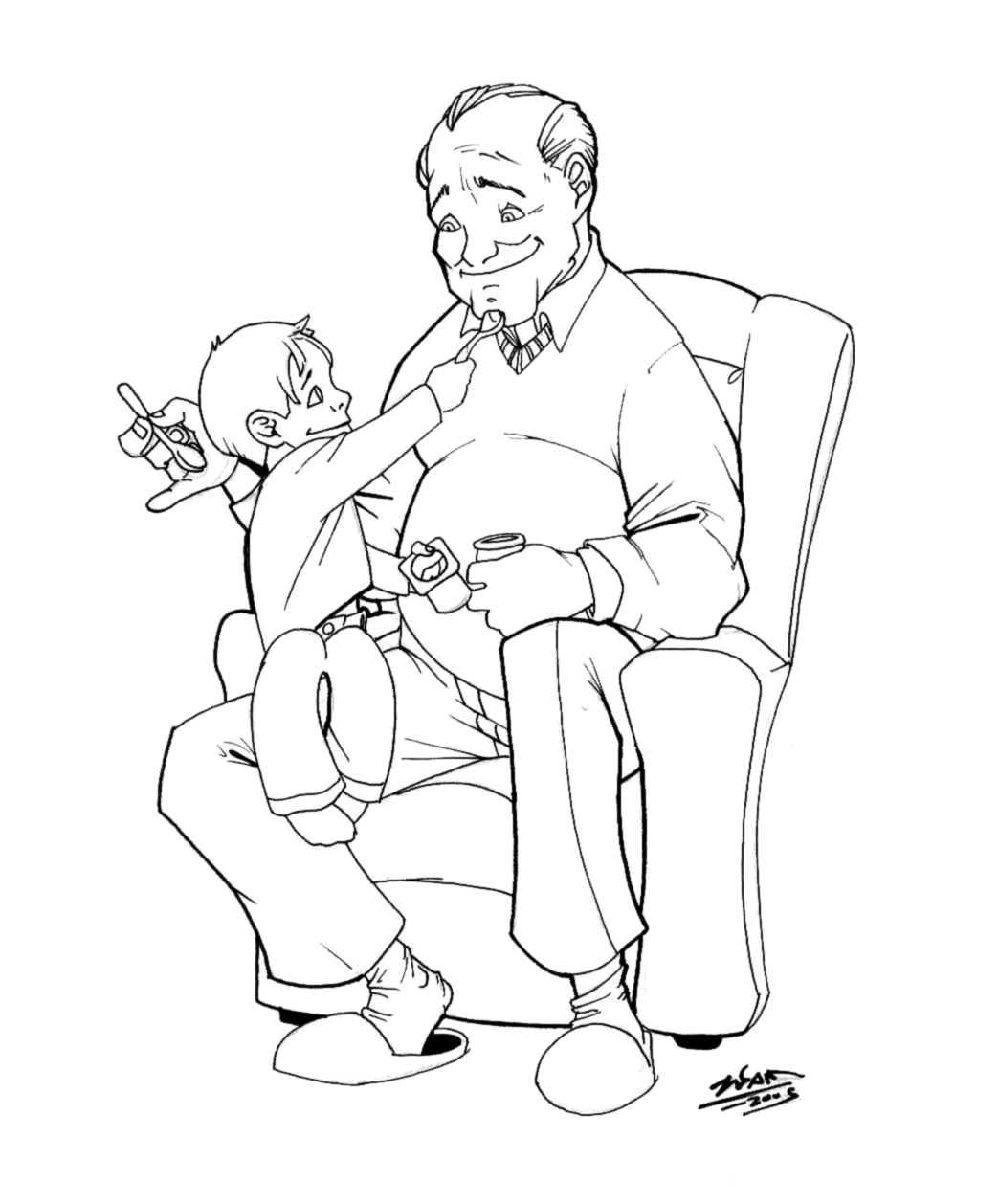 grandpa and grandson ink by thenota on DeviantArt