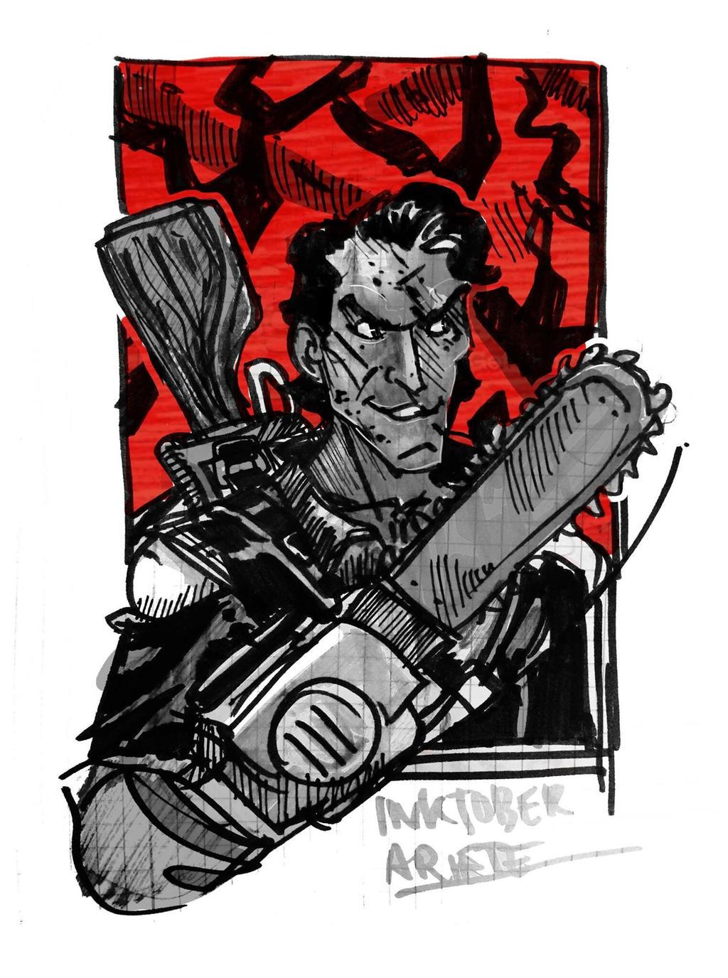 Inktober 01: Ash vs Evil dead  by thenota