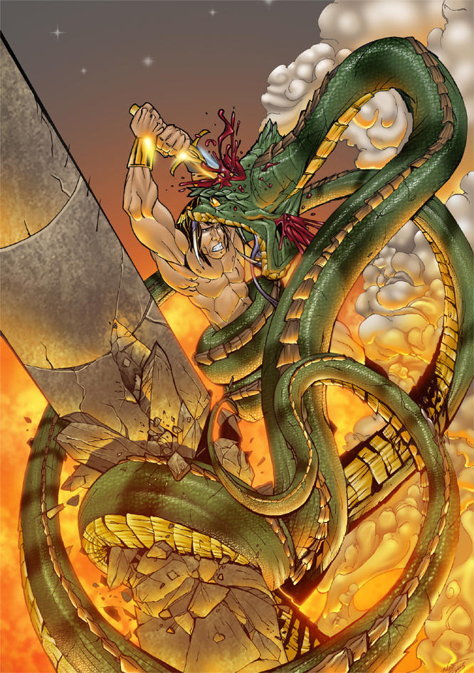 conan and the snake colour by thenota