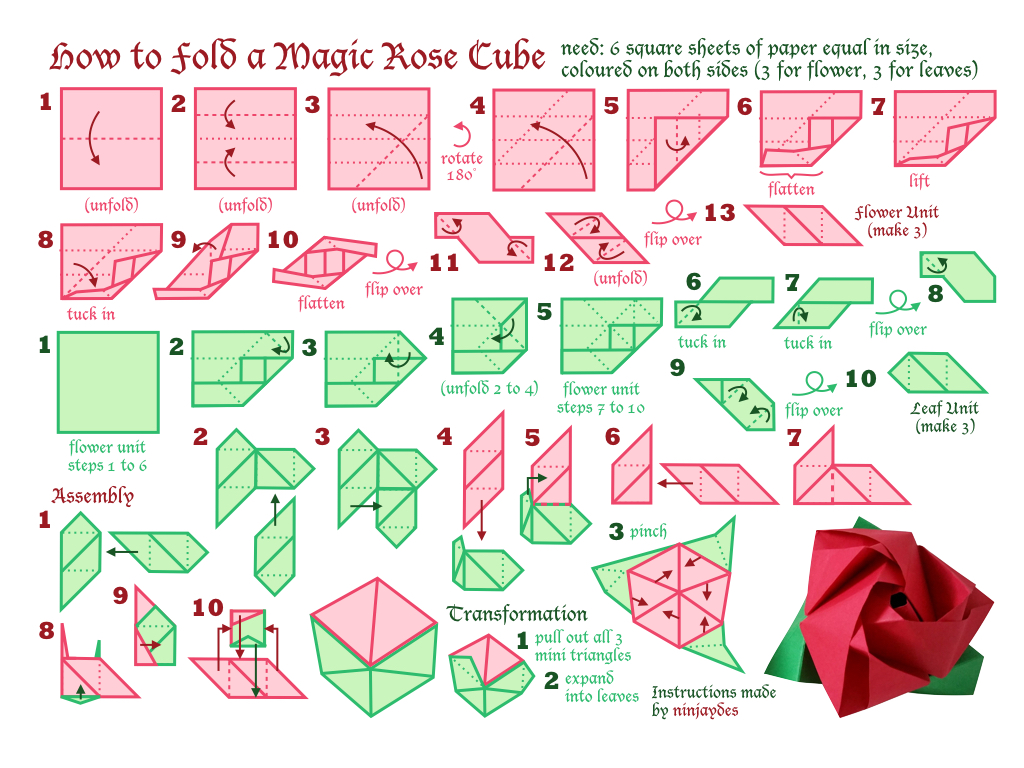 How To Fold A Magic Rose Cube By Ninjaydes64 On Deviantart