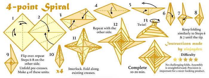 How to Fold Tomoko Fuse's 4-point Spiral