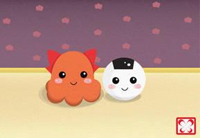 Tako and Onigiri by gonnafly