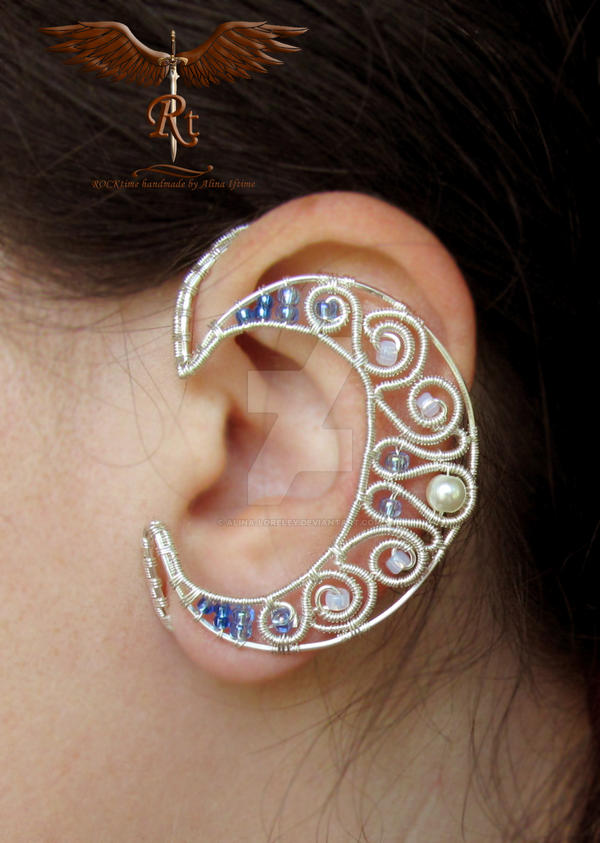 Crescent moon ear wrap by alina-loreley