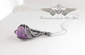 Silver and amethyst pendant by alina-loreley