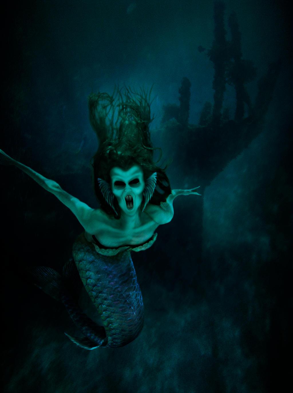 Dark Mermaid Art Evil Siren by jaded-ink