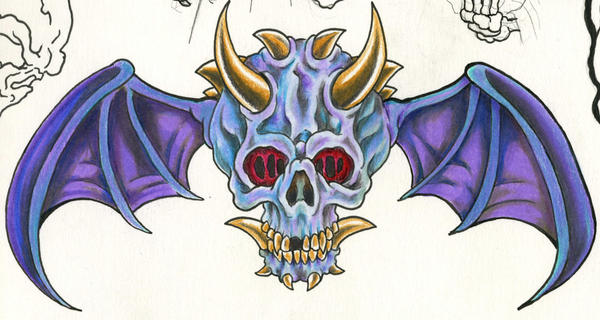 winged demon skull by scottkaiser