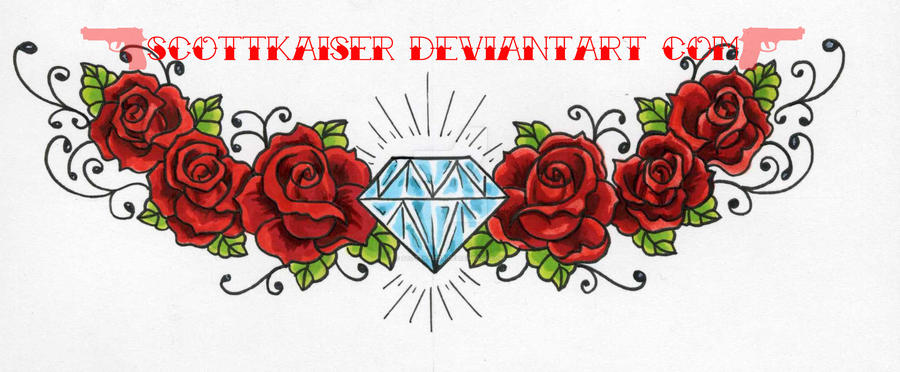 Diamond and roses by scottkaiser