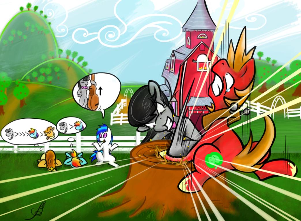 Octavia vs Bigmac hoofwrestle by pupupu6000