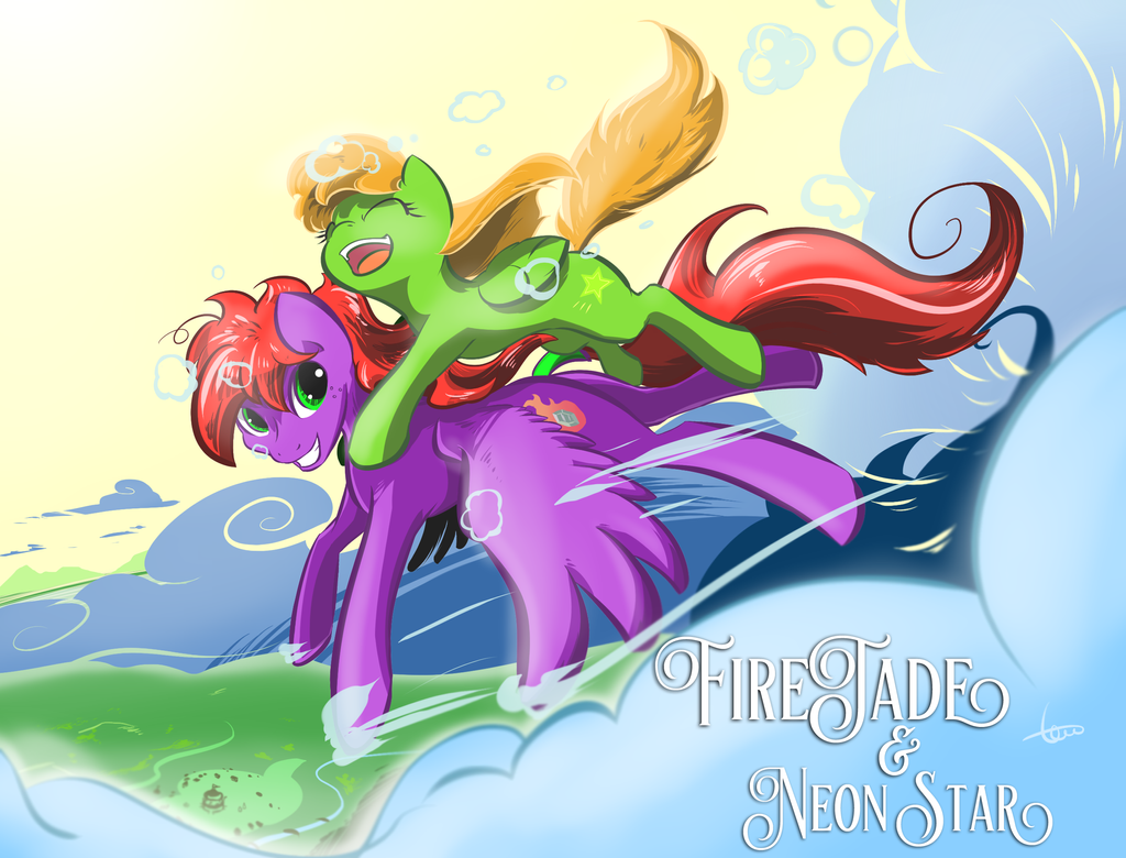 FireJade and NeonStar by pupupu6000