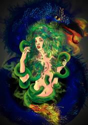 Snake raven woman