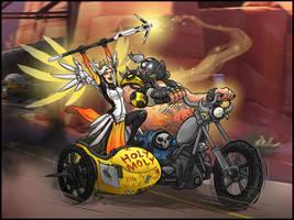 Mercy and Roadhog by pokketmowse