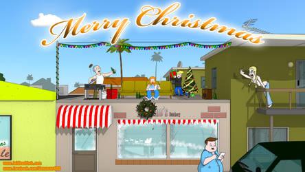 Laidback Bob - Rooftop Christmas by Jacob-Digital-Art