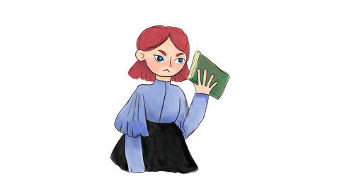 Lulu with a book