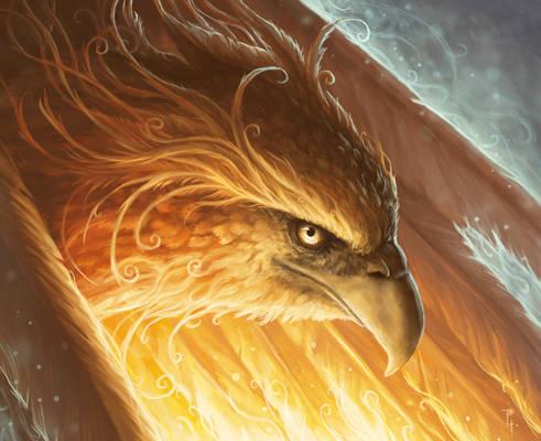 Phoenix in a fiery light