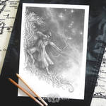 the Hunter - greyscale colouring page by queenofeagles