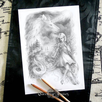 the Unicorn - greyscale colouring page