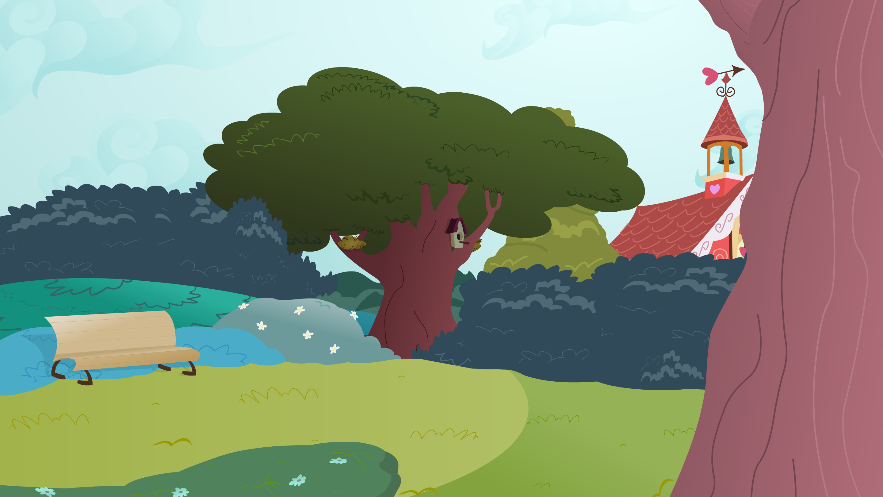 Background: Ponyville Park by DracoBlair