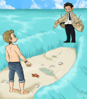 Cas parts the sea by Karacoon