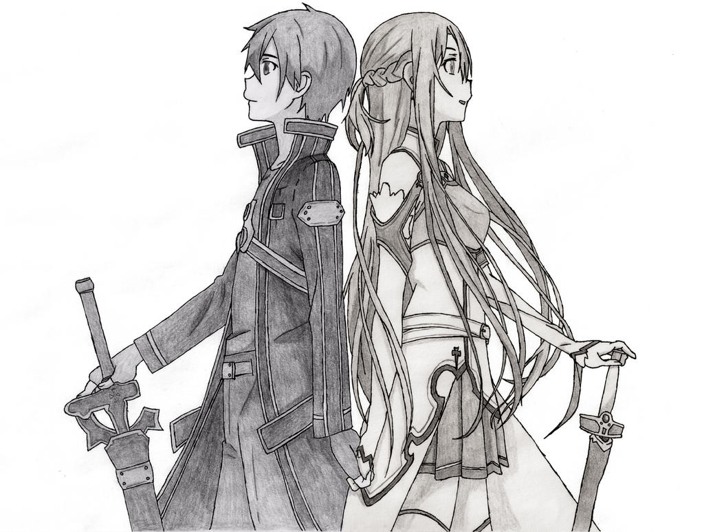Real feelings kirito and asuna by captainghostly on for Sketch it online